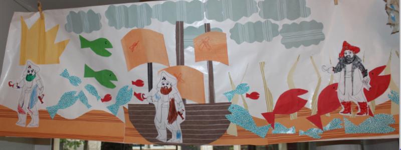 L'ateliers des enfants durant les vacances d'été, la  grande fresque des  pirates