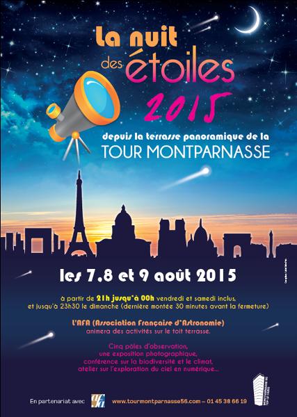 Sortie enfant à Paris, La Nuit des Etoiles à la Tour Montparnasse, l'affiche.