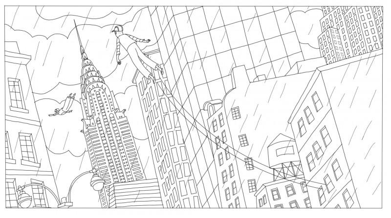 Coloriage voler dans le ciel de la ville, Phantom Boy  un film d'animation