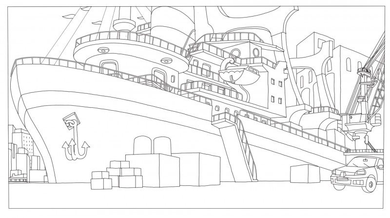 Coloriage, le bateau, Phantom Boy  un film d'animation