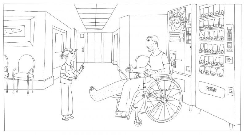 Coloriage Phantom Boy, alex a une jambe dans la platre,  un film d'animation