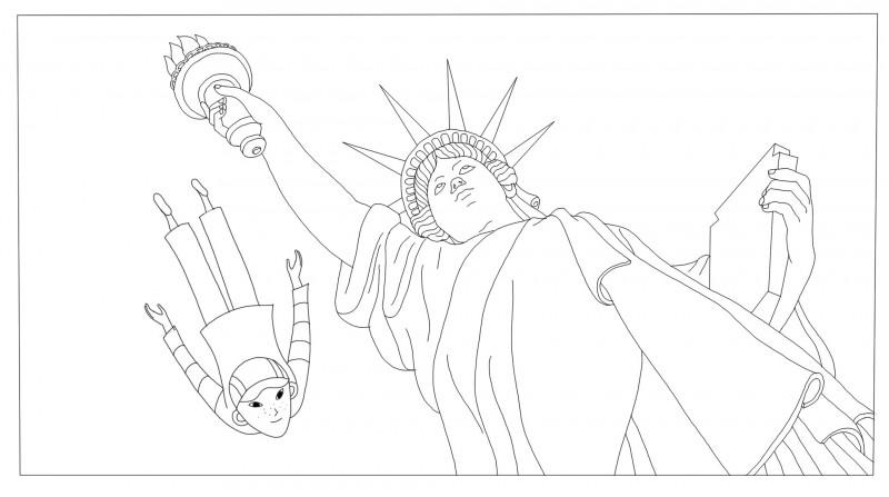 Coloriages Phantom Boy, la statue de la liberté, un film d'animation pour les enfants.