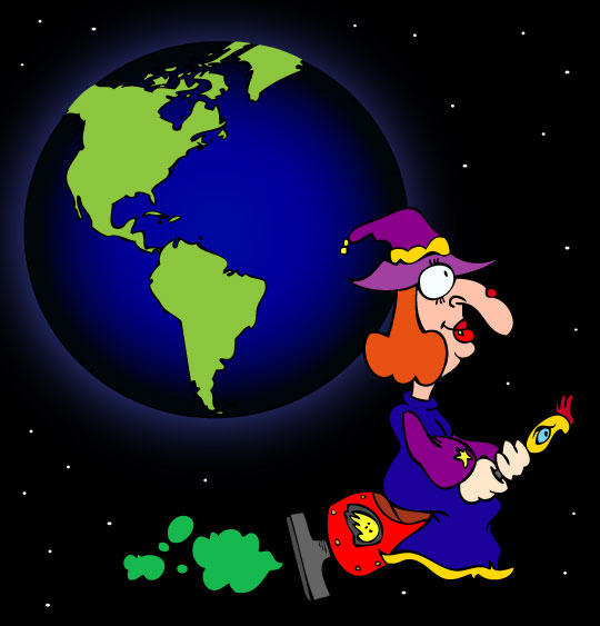Halloween, le dessin animé du rock de la Sorcière, la sorcière autour de la terre.