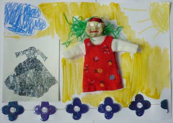 Atelier anniversaire à domicile, personnage, tissu, pâte à modeler, divers matériaux
