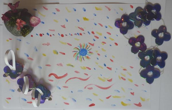 Atelier anniversaire à domicile, matériaux de récupération et pâte à modeler