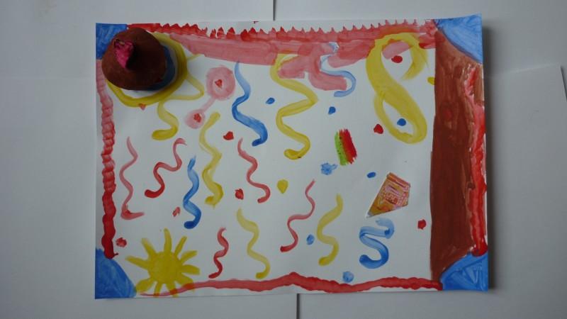Atelier anniversaire à domicile, pâte à modeler et gouache