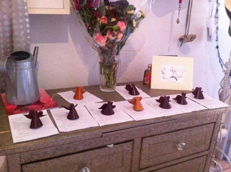 Anniversaire enfants à Nice, atelier créatif, nos anges en cuir et les recettes de cuisine.
