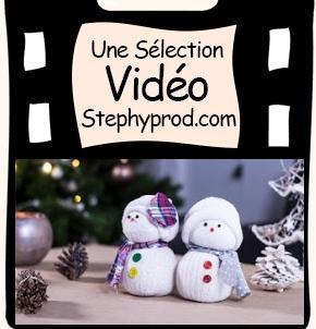 Tutos de Noël de loisirs créatifs en vidéo, notre sélection, le bonhomme de neige en chaussette.