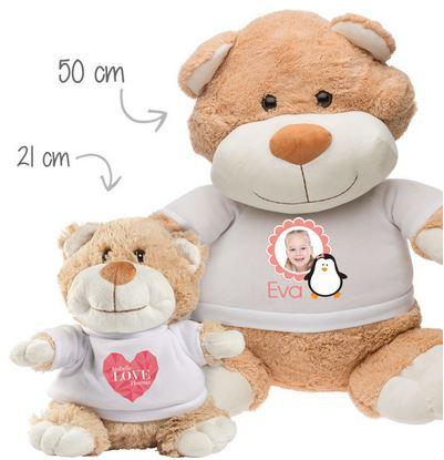 Cadeau de Noel, une peluche personnalisée. Oscar l'Ours Géant et petit Oscar l'Ours en Peluche.