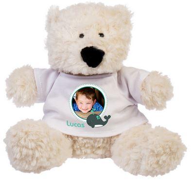 Idée de cadeau de Noel, une peluche Personnalisée ! Teddy l'ours avec la photo de son maitre sur son tee-shirt.
