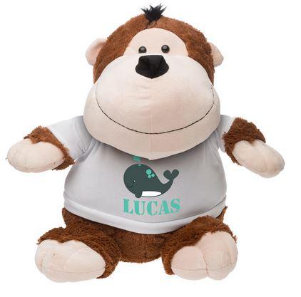 Idée de cadeau pour Noel, une peluche personnalisée Gino le singe