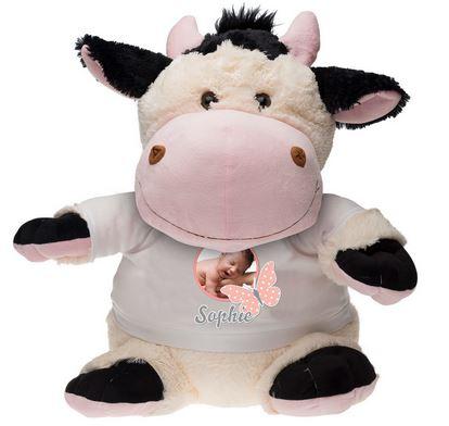 Cadeau de naissance, une peluche personnalisée Marguerite la vache
