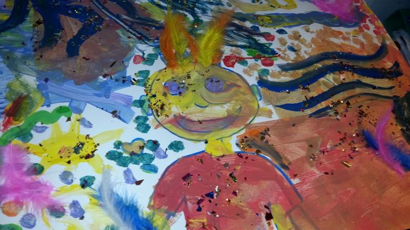 L'atelier des enfants, la semaine, les soirs d'école, la  fresque collective