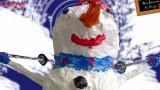 Décoration Noël, bonhomme de neige en papier mâché