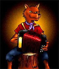 Si vous cliquez, vous avez le dessin de Well en grande taille sur coloriages pour enfants.com. Le loup accordéoniste. Une illustration de la chanson pour enfants La valse des loups.