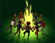 Si vous cliquez, vous avez le dessin de Well en grande taille sur coloriages pour enfants.com. Ronde de loups donne froid dans le cou. Une illustration de la chanson pour enfants La valse des loups.