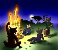 Si vous cliquez, vous avez le dessin de Well en grande taille sur coloriages pour enfants.com. Les loups autour du feu de camp. Une illustration de la chanson pour enfants La valse des loups.
