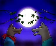 Si vous cliquez, vous avez le dessin de Well en grande taille sur coloriages pour enfants.com. Blanche la lune et les loups face à face. Une illustration de la chanson pour enfants La valse des loups.
