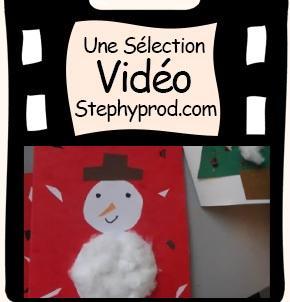 Vidéo Activité noel enfants, tuto carte bonhomme de neige 3D pour les enfants et les bébés.