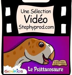 Vidéo Dessin animé dinosaures, le Psittacosaure pour les enfants et les bébés.
