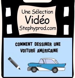 Vidéo Dessiner une voiture américaine, style Cadillac pour les enfants et les bébés.