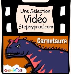 Vidéo Dessin animé sur les dinosaures, le Carnotaure  pour les enfants et les bébés.