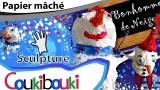 Décoration de Noël, le bonhomme de neige en papier mâché