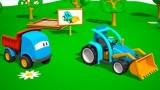 Dessin animé La construction d'un tracteur