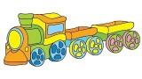 Mes jouets préférés , une grue et un petit train
